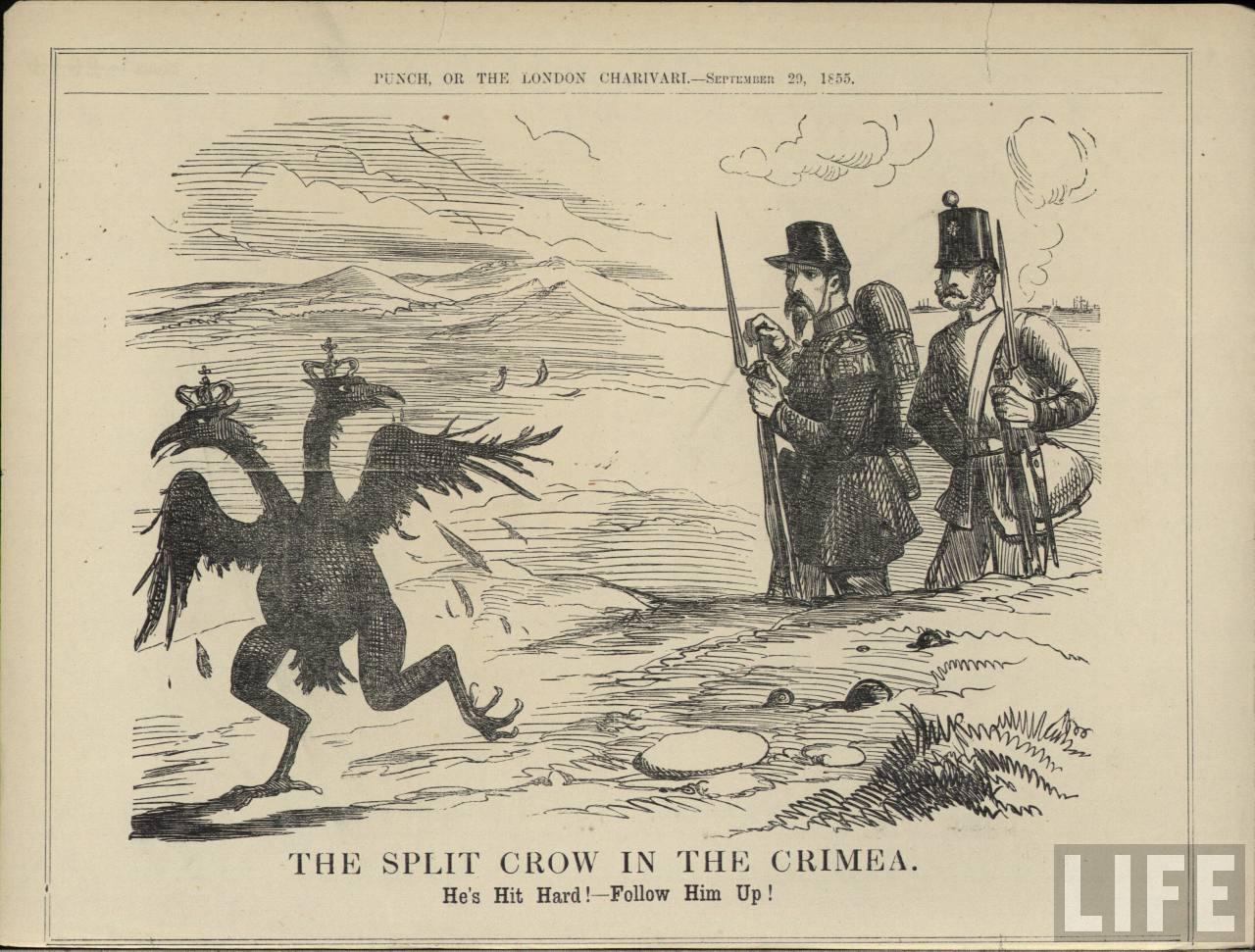 Ця карикатура часів кримської війни із британського журналу «Панч» засвідчує, що колись на російську агресію світ реагував не тільки «стурбованістю».Малюнок з сайту svoboda.org